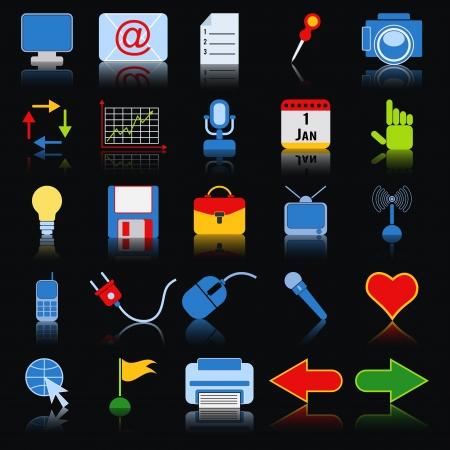 photo printer: Web icons vector set Illustration