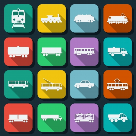 Transportation flat icons set Stock Vector - 25523872