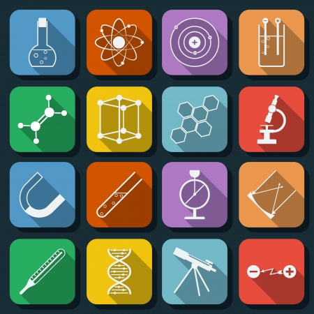 focus on shadow: Science flat icons set