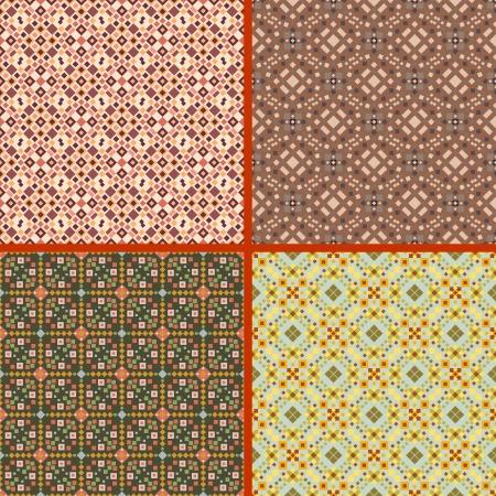 pale yellow: Abstract seamless patterns set