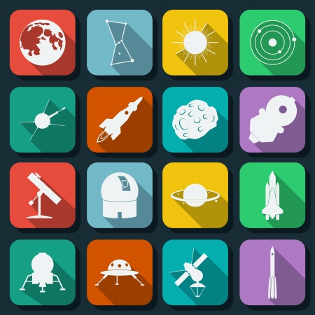 observatory: Space flat icons set Illustration