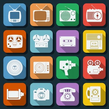 Retro electronic flat icons set Vector