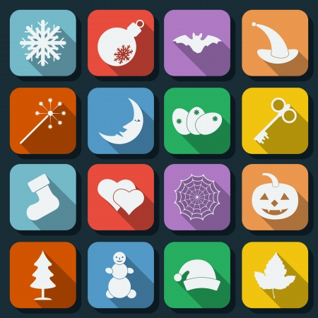 Holidays flat icons set Vector