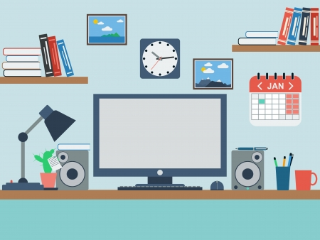 Home workplace flat illustration