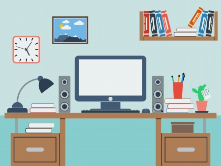 Home workplace flat illustration Vector