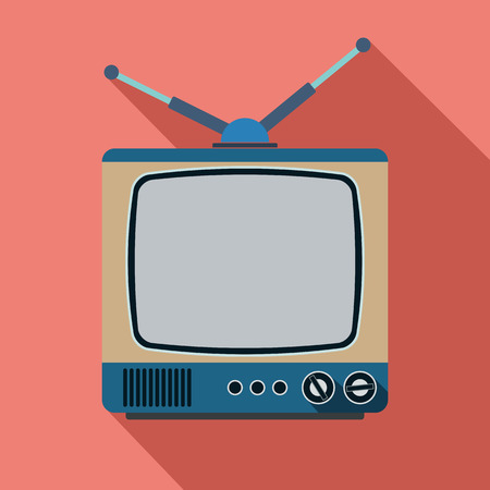 television aerial: Retro TV set flat illustration