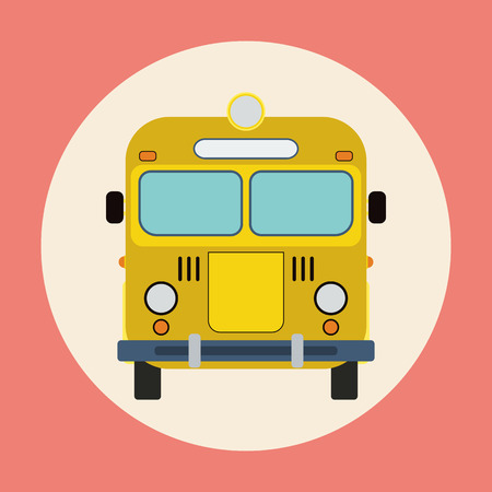 Yellow bus flat illustration