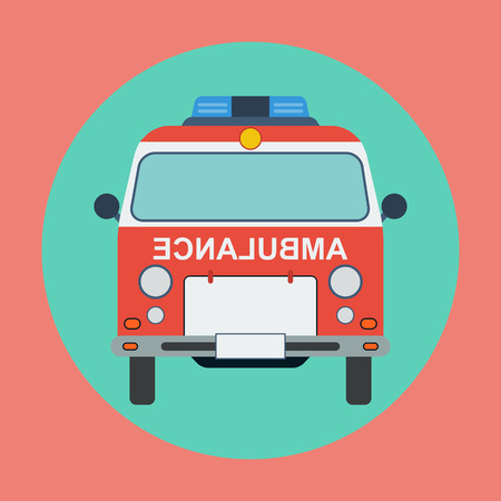 road ring: Ambulance car flat illustration