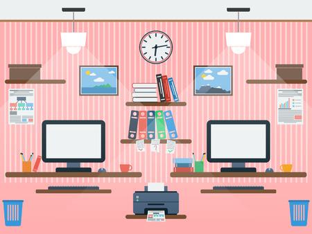 Common workspace flat illustration Vector
