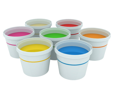 Colorful paint buckets isolated on white
