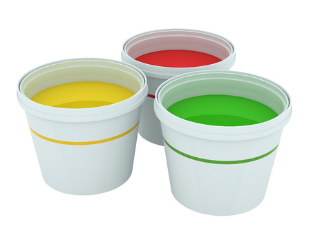 Red, yellow and green paint buckets isolated on white
