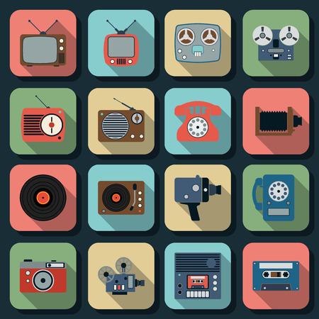 old television: Retro electronic flat web icons
