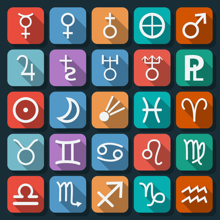 Astronomy and astrology flat web icons Иллюстрация