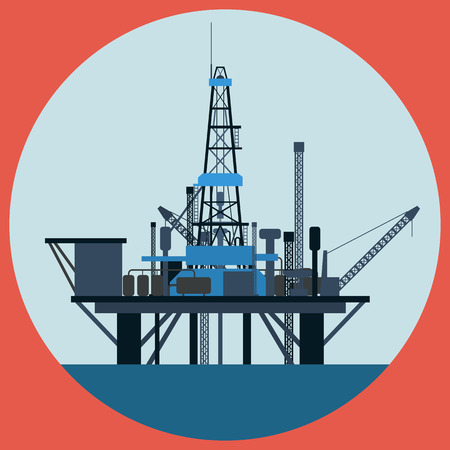 Oil platform flat vector illustration Vector
