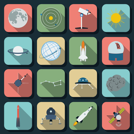 Space and astronomy flat web icons Stock Vector - 26556433