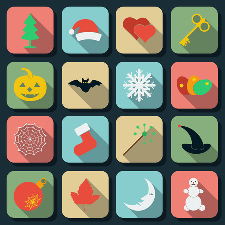 Holidays flat web icons Vector