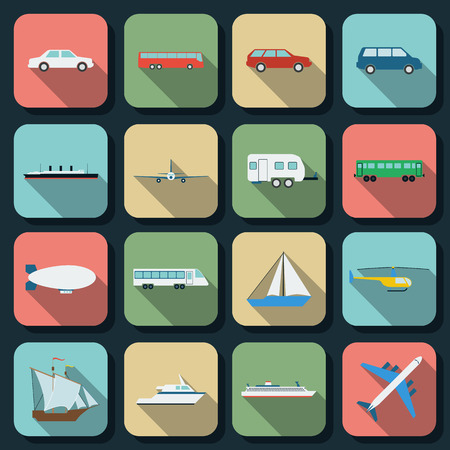 railroad transport: Transportation flat web icons