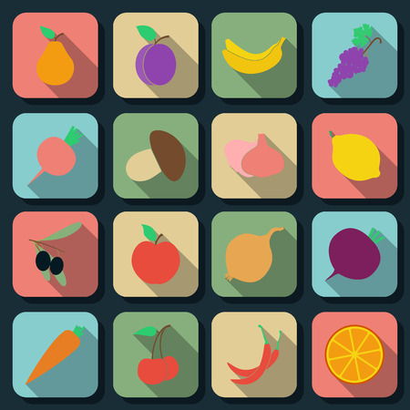 Fruits and vegetables flat web icons Vector