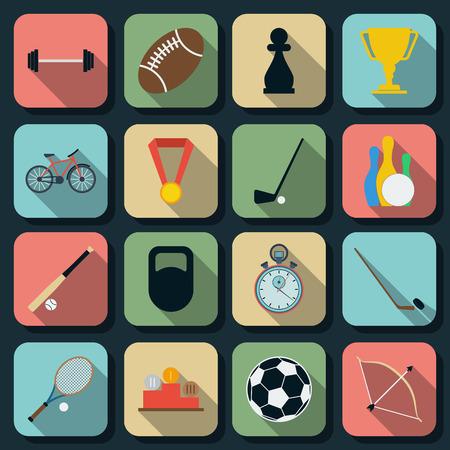 Sport flat web icons Vector