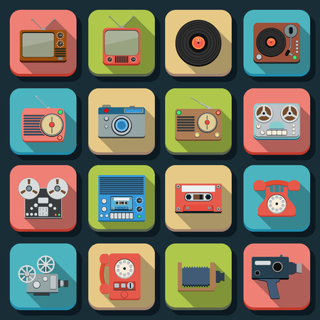 Retro electronic flat vector icons Vector