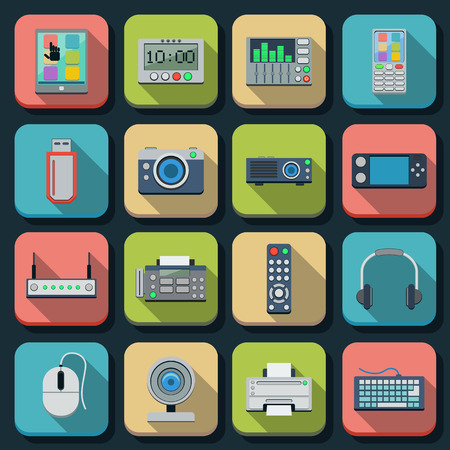 Modern electronic flat vector icons