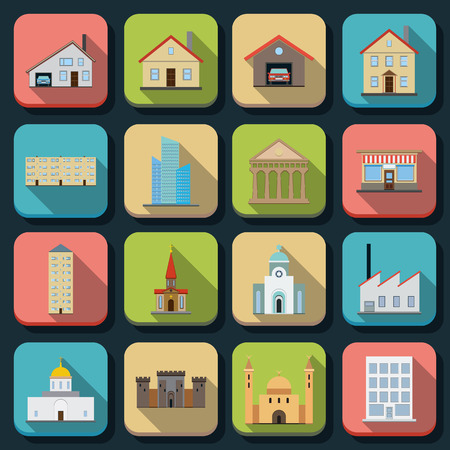 Buildings flat vector icons Vector