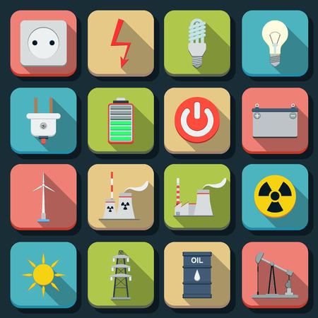 Energy flat vector icons