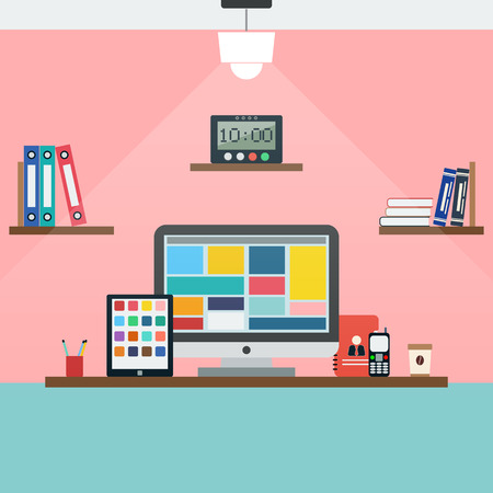 plasma monitor: Home workplace flat illustration