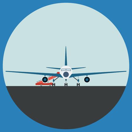 plane landing: Airplane flat illustration