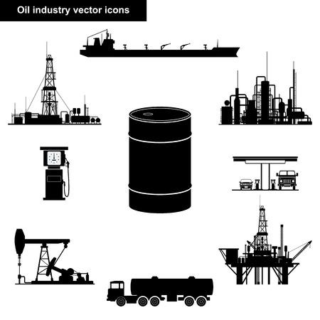 l'industrie pétrolière icônes en noir