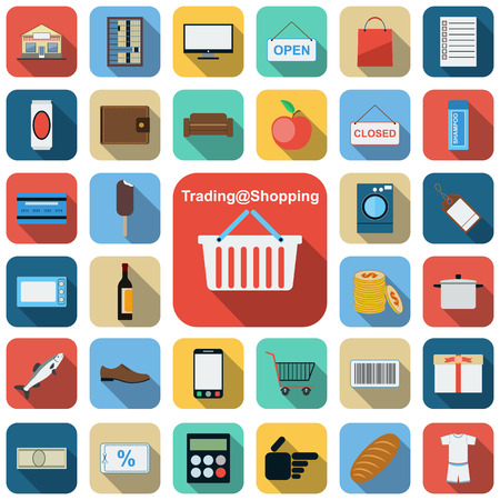 Trading and shopping flat icons Vector
