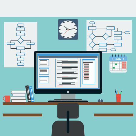 Programmer workplace flat illustration Vector