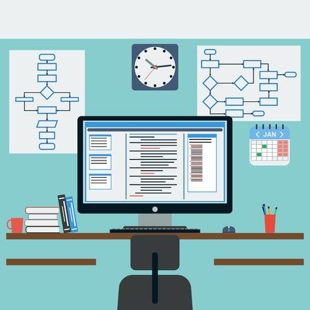 Programmer workplace flat illustration