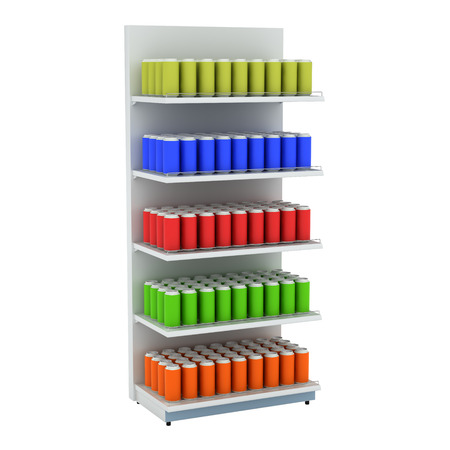 Supermarket shelves with drink cans