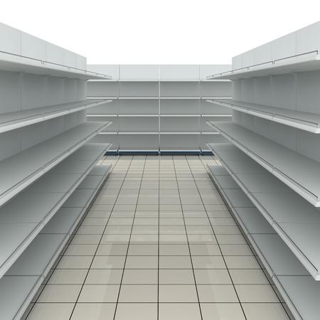 Empty supermarket shelves photo