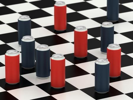 checker board: Beba latas en un tablero de ajedrez Foto de archivo