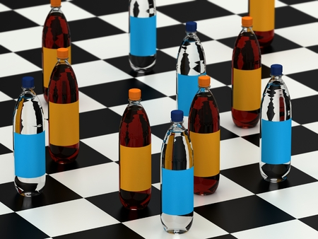checker: Drink bottles on a checker board Stock Photo