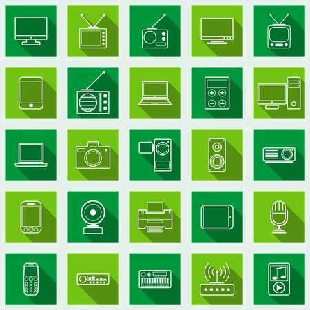 Electronic flat vector icons Vector