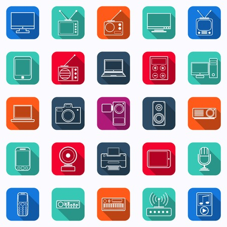 Electronic flat vector icons Illustration