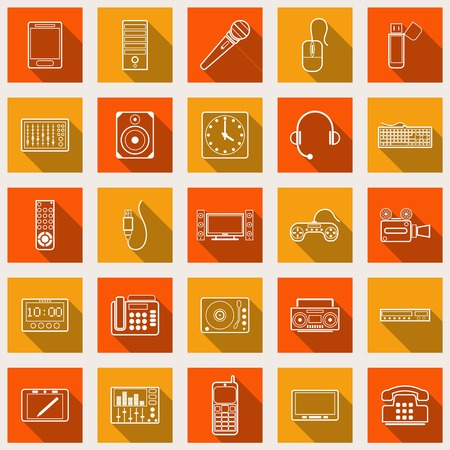 Electronic devices flat icons Vector