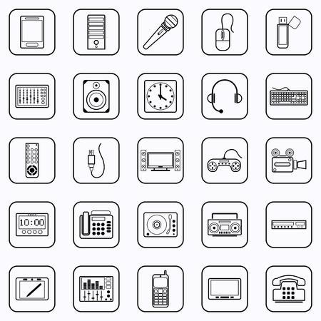 Electronic contour icons Vector