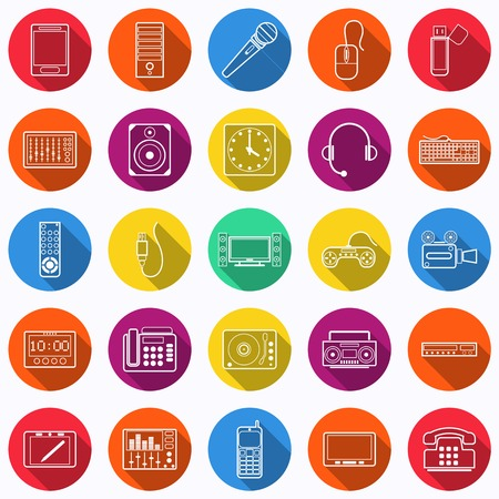 Electronic flat icons Vector