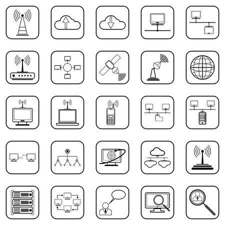 Network contour vector icons