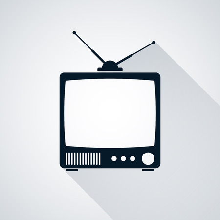 television aerial: Retro TV set icon