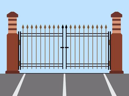 金属ゲート フラット ベクトル図