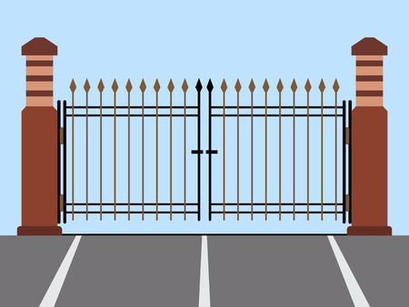 iron fence: Metal gate flat vector illustration Illustration