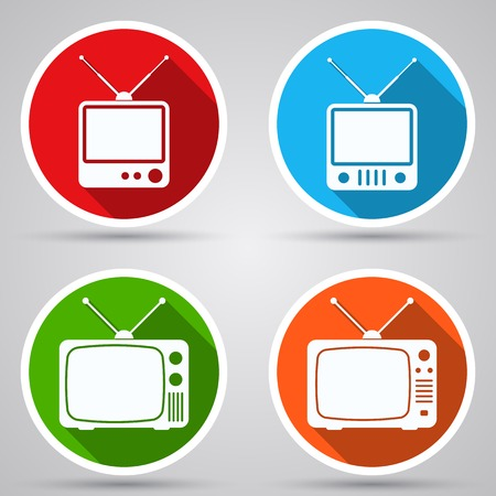 television aerial: Retro TV set icons Illustration