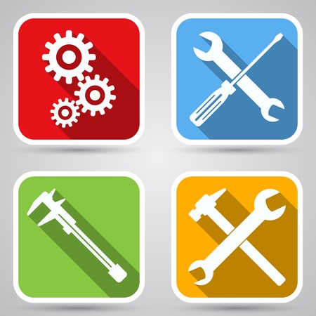 Tools flat vector icons