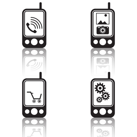 Mobile phone black vector icons Vector
