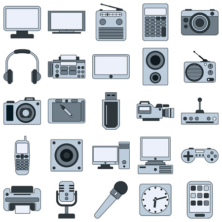 clock radio: Electronic vector icons